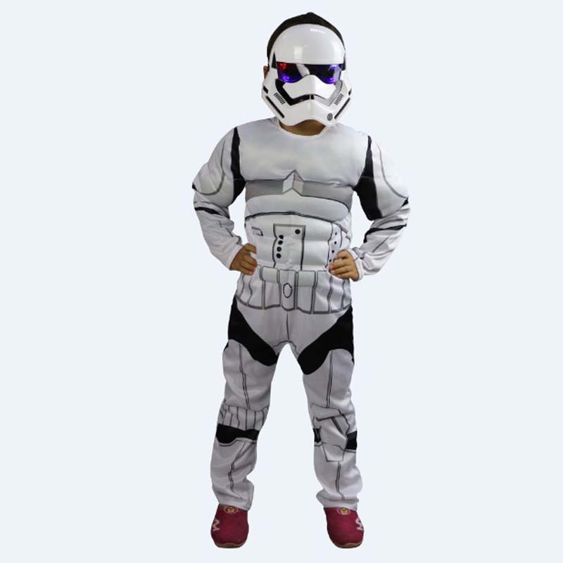 S-L Fantasia infantile Unisex Children Star Wars Cosplay Halloween Stormtroopers helmet Costume Christmas Purim Stage play dress