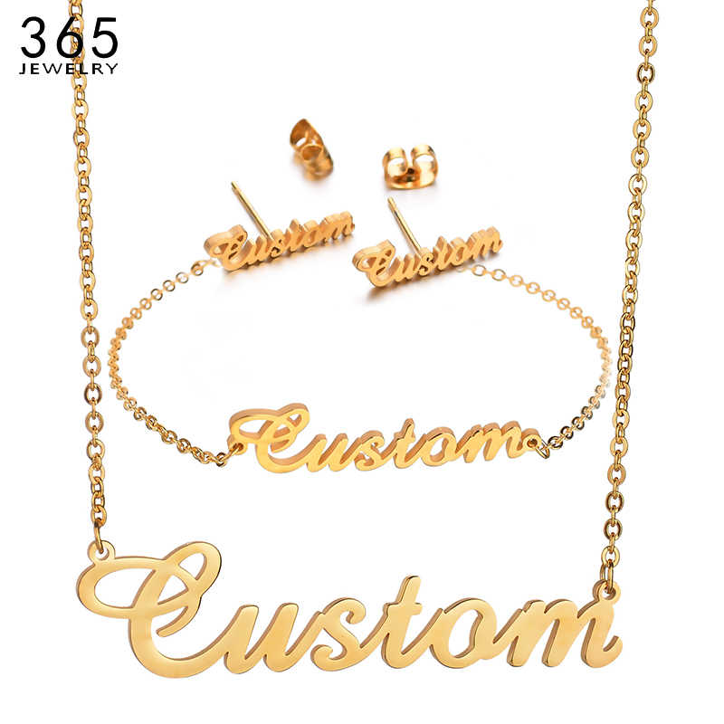 Fashion Customized Stainless Steel Name Necklace For Women Men Gold Personalized Letter Necklace Pendant Custom Jewelry