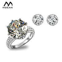 MDEAN Jewelry Sets AAA Zircon Bague Engagement Vintage Ring Earring Fashion Accessories Luxury Wedding Jewellery