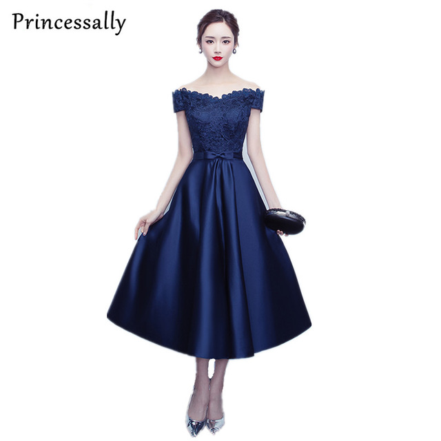 Navy Blue Dresses Tea Length Satin Boat Neck Lace 2017 Evening