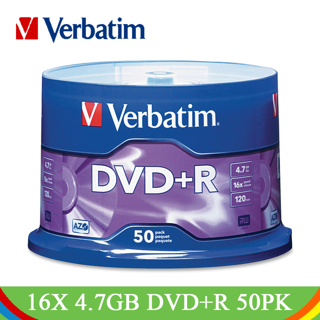 Verbatim DVD Drives 16X 4.7GB DVD+R Blank Disk CD Disks 50PK Spindle Lot Branded Recordable Media Disc Compact Write DVD Lotes