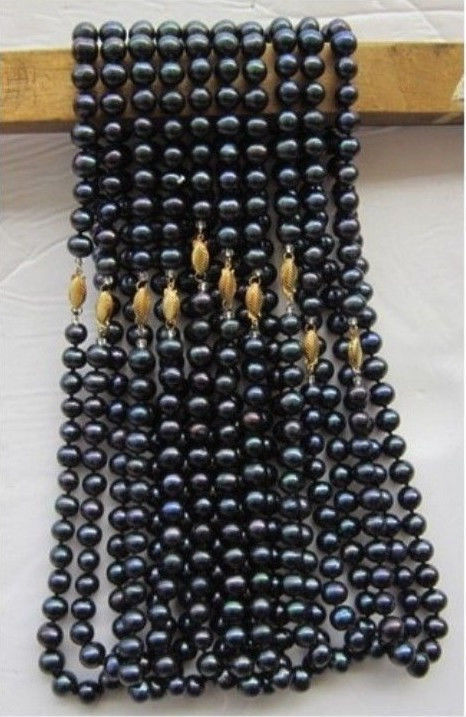 Hot sell Noble- FREE SHIPPING>>>@@ wholesale natural 10PC 7-8mm Black Tahitian pearl necklace 18