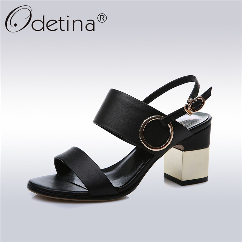 Odetina 2018 New Fashion Genuine Leather Women High Heel Ankle Strap Sandals Peep Toe Buckle Summer Party Shoes Big Size 33-43 odetina 2017 genuine leather gladiator sandals women flat peep toe sandals rivets ankle strap buckle summer shoes big size 34 43