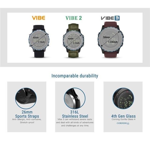 Smart Bracelet Watch Men VIBE 3 Smartwatch 5ATM Waterproof Stopwatch Calorie Burn Sports Track 33-month Standby Weather Monitor