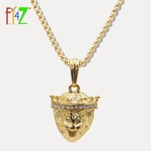 F.J4Z HIP Hop Golden King Lion Head Pendants Necklaces For Men Alloy Long Collier Jewelry