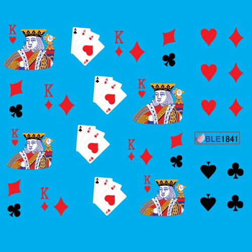 Nail Art Decals Water Transfer Stickers Poker Card Dice BLE Series 24 sheets/lot Free Shipping
