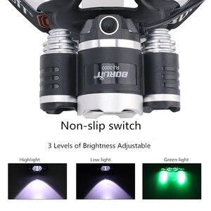 Image 3 - Linterna LED para cabeza de 20W con luces LED verdes blancas, 3 modos de iluminación, recargable por USB, luces de pesca impermeables para senderismo, Camping