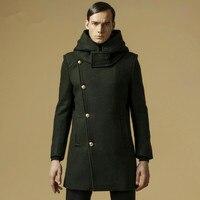 מותג לעבות גברים מעיל חורף מעיל צמר רכיסה כפול מזדמן מעצב ארוך מעיל האפונה mens 3 צבע גודל M-3XL A0839