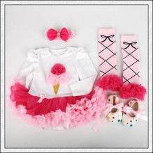 New Baby Girl Clothing Sets Christmas set Lace Tutu Romper Dress Jumpersuit+Headband+Shoes 4pcs Set Bebe First Birthday Costumes
