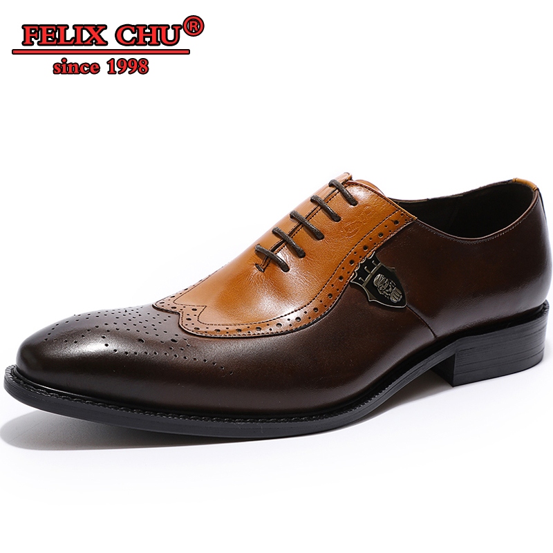 Genuine Leather Men Shoes Oxford Italian Designer Formal Pointed Toe Lace Up Party Wedding Official Casual