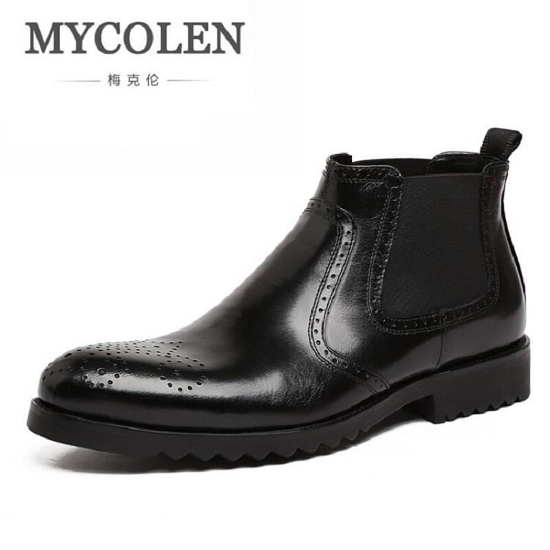 MYCOLEN Men Winter Boots Business Genuine Leather Man Brouge Boots Fashion Flat Heel Ankle Boots Mens Shoes sapato masculino men s genuine leather boots shoes autumn winter casual shoes motorcycle boots fashion zapatos hombre sapato masculino 0300 1