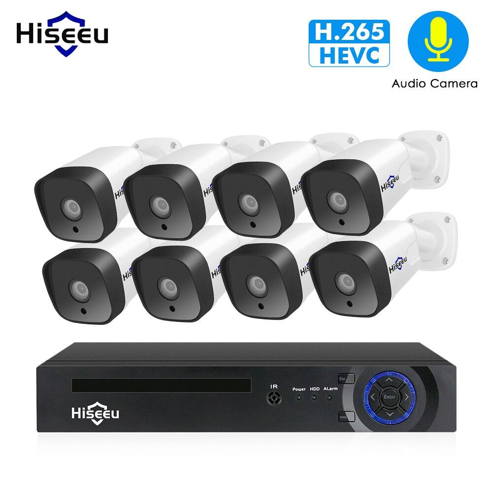 Hiseeu 1080 P POE NVR Kit 8CH H.265 CCTV Sistema di telecamere Outdoor 2MP audio Macchina Fotografica del IP di Sicurezza Domestica sistema di telecamere video di Sorveglianza