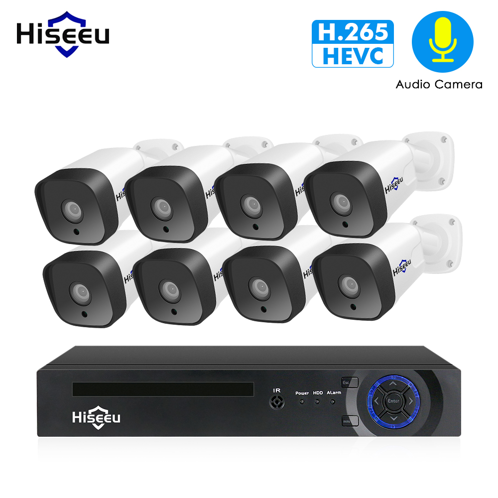 Hiseeu 1080 P POE NVR комплект 8CH H.265 CCTV Камера Системы открытый 2MP звук для камеры безопасности дома Камера Системы видеонаблюдения