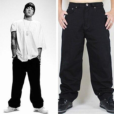 Hip Hop Baggy   Jeans   2019 New Arrivals Loose Fit Wide Leg Denim Pants Skateboarder Streetwear Vintage Black