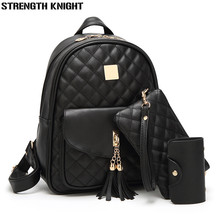 купить 3 Pcs Bear Backpack Women Bag Diamond Lattice School Bags For Girls Backpacks For Women 2018 New Tassel Shoulder Bags Sac A Dos дешево