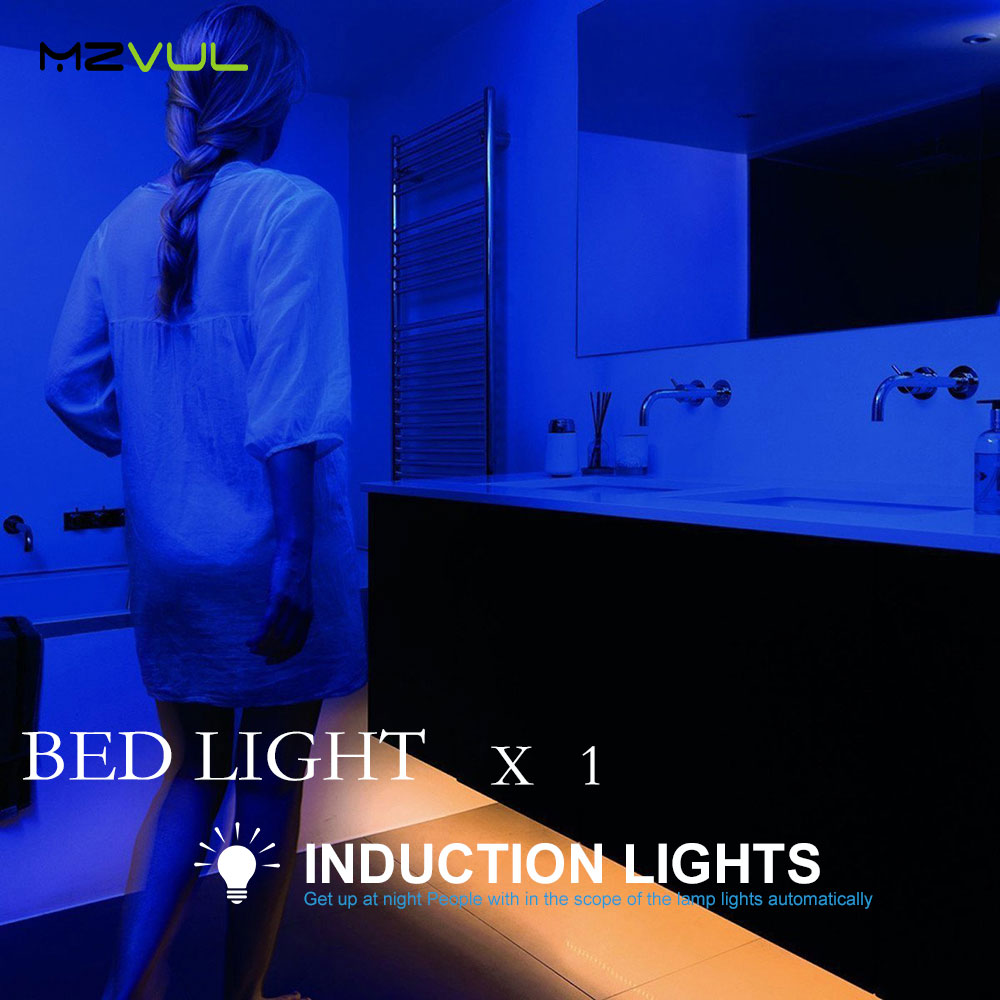 Motion Activated Bed Light Flexible LED Strip Motion Sensor Night Light with Automatic Shut Off Times for Hallway Stairs Door motion activated bed light flexible led strip motion sensor night light kit for bed hallways stairs under cabinet baby room door