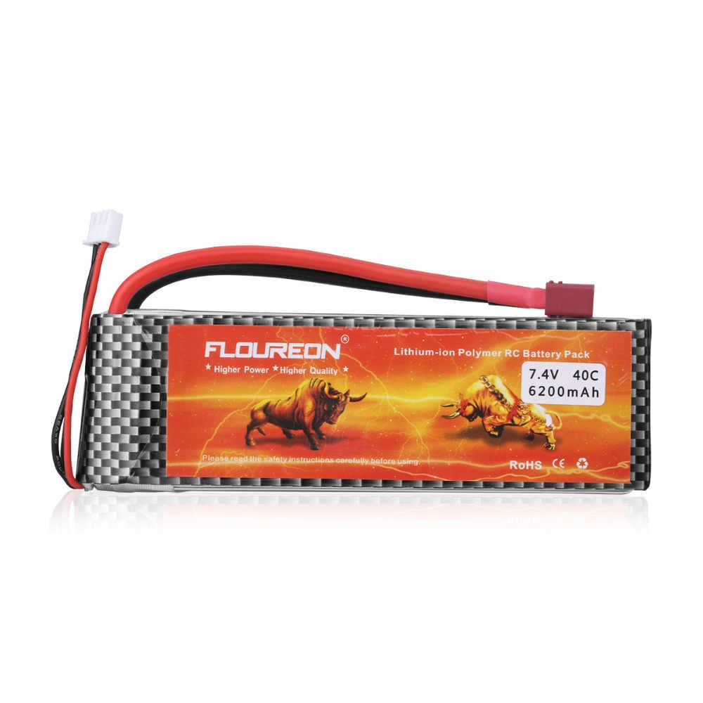 Floureon 2S2P 7,4 V 6200 mAh 40C Lipo аккумулятор с вилкой Deans T для грузовик с дистанционным управлением Багги RC игрушки