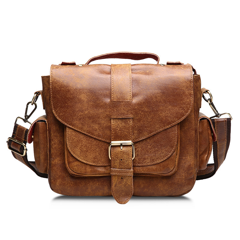 Fashion Men Casual Genuine Leather Shoulder Bag Zipper Cover Solid Color Large Capacity Handbag Travel Cow Leather Messenger Bag high quality authentic famous polo golf double clothing bag men travel golf shoes bag custom handbag large capacity45 26 34 cm