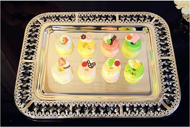 42*32.5 cm moderne rectangulaire cristal plateau de service plateau en métal argenté décoratif plateaux de service gâteau pan pour la décoration de la maison FT027