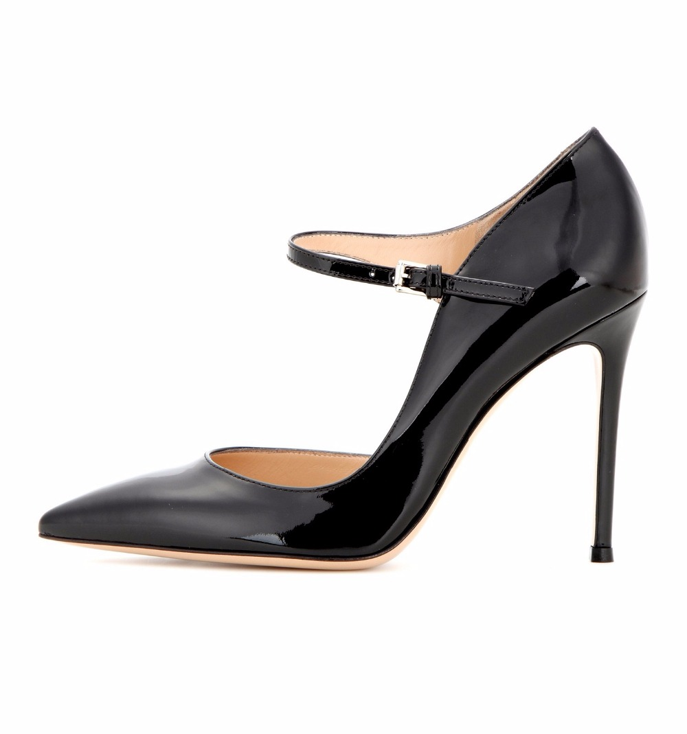 Womens Handmade Mary Janes Buckle Strap 10cm High Heel Office Party Pumps Shoes CKE124 sweet elegant mary janes womens block high heel platform pumps lolita ankle strap shoes new 6 colors