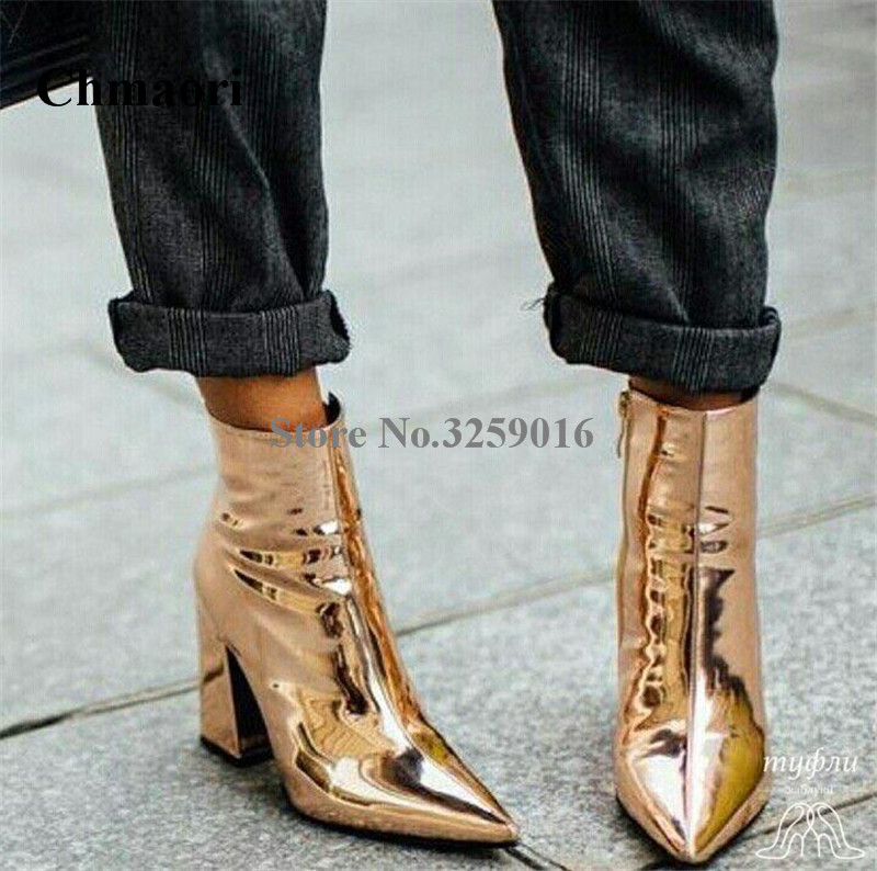 Ladies Shining Pointed Toe Gold Mirror Patent Leather Chunky Heel Short Boots Fashion Thick High Heel Ankle Boots Dress ShoesLadies Shining Pointed Toe Gold Mirror Patent Leather Chunky Heel Short Boots Fashion Thick High Heel Ankle Boots Dress Shoes