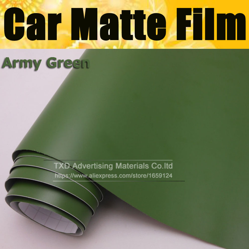 10/20/30/40/50/60X152CM/Lot Army Green Car matte vinyl sticker for car interior and exterior decoration with air free bubbles