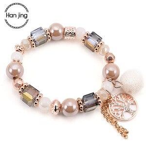 Женский браслет Bts, с подвеской в виде дерева жизни, эластичный браслет с кристаллами