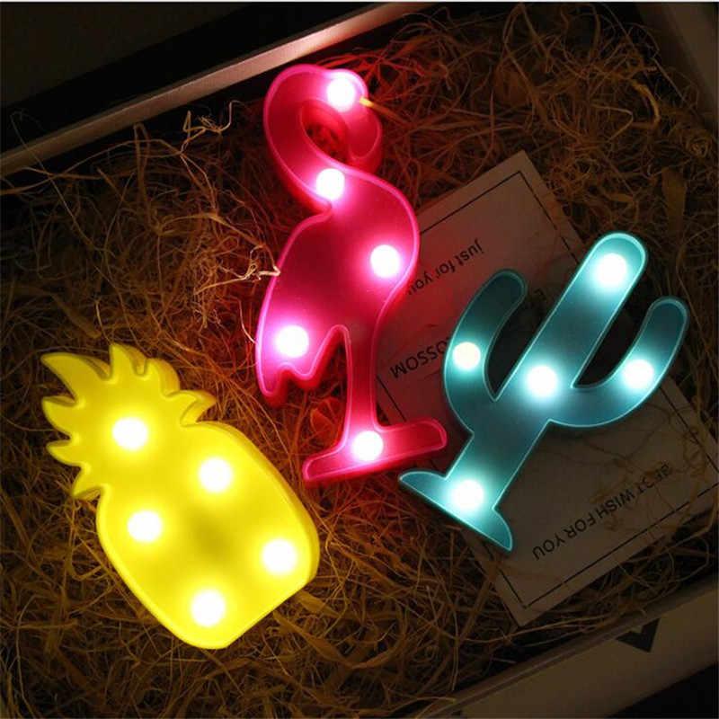 Hoạt Hình Hạc Xương Rồng 3D Đèn Ngủ LED Giáng Sinh Trang Trí Trẻ Em Trẻ Em Phòng Ban Đêm Đèn Đèn LED Để Bàn Trang Trí Nhà Tặng