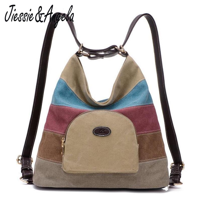 Jiessie & Angela nye kvinder lærred rygsække skulder rejse taske damesko poser mochila designer mærke kvindelige taske
