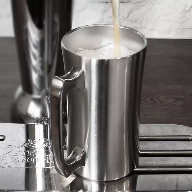 ROKENE Stainless Steel <font><b>Mugs</b></font> Insulated Cup <font><b>20oz</b></font> Large <font><b>Mugs</b></font> Double Wall Beer Stein Tumbler with Handle Insulated Beer Cups image