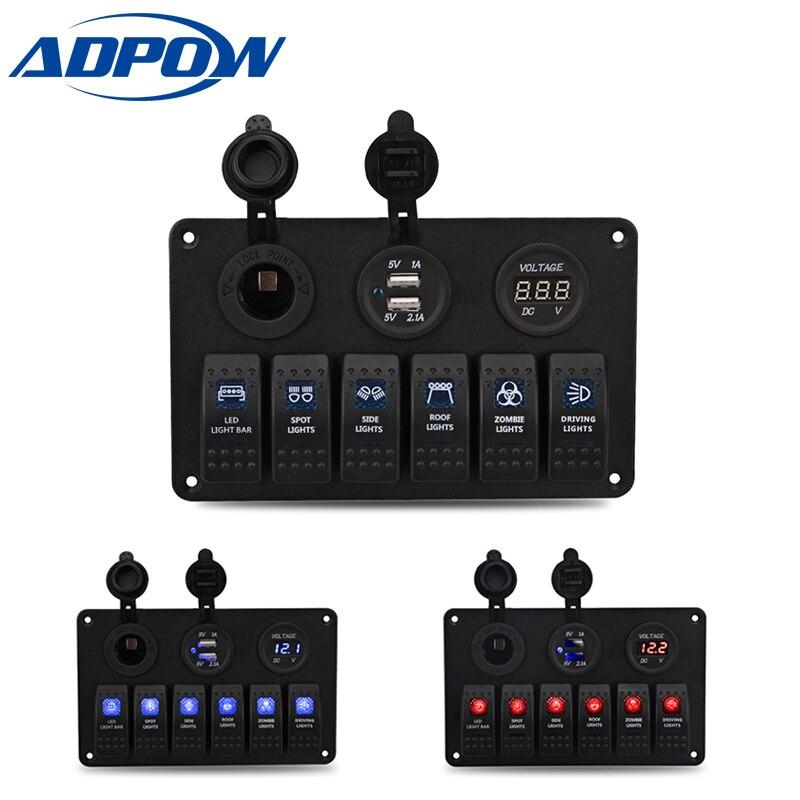 ADPOW Car Styling 12V 24V Waterproof Boat Marine 6 Gang LED Rocker Switch Panel Circuit Breaker