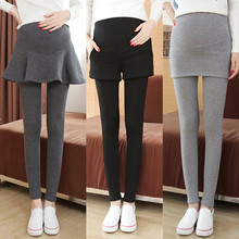 Fake Two Pieces Belly Skinny Maternity Legging Elastic Cotton Adjustable Waist Pencil Pregnancy Pants Clothes for Pregnant C441(China)