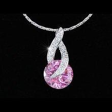 Павлин звезда 4 карат розовый, серебристый Цвет, фиолетовый круглой огранки кубического циркония кулон и Цепочки и ожерелья csn291
