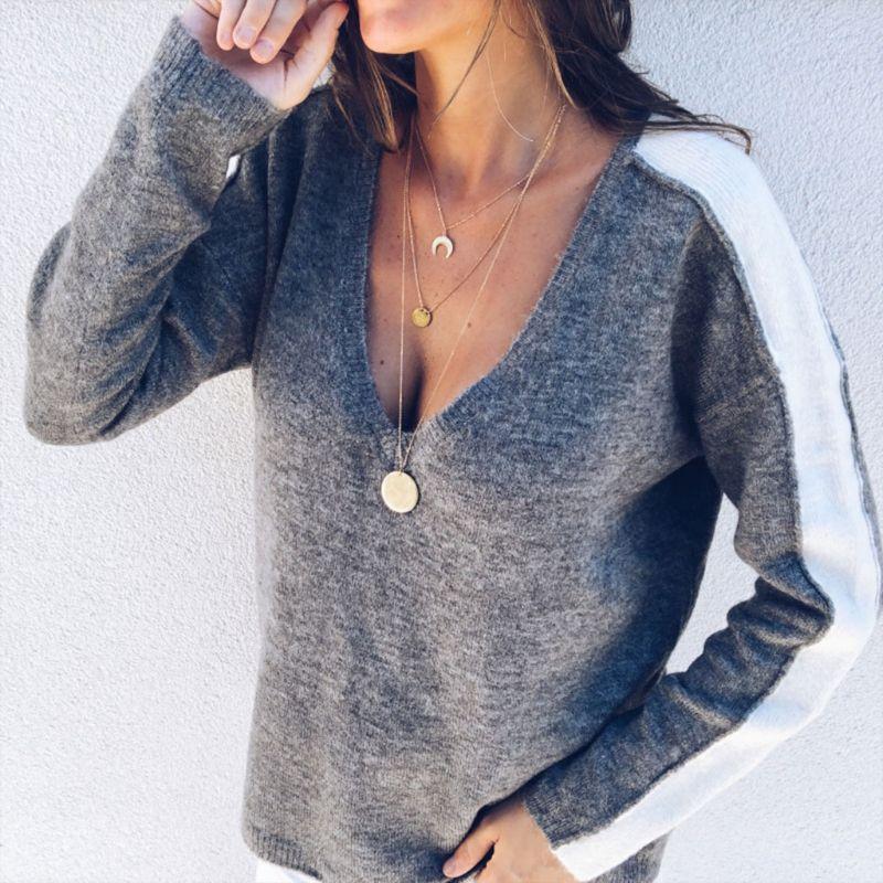 Women Long Sleeve Deep V Neck Sweaters Off Shoulder Stripe Loose Blouse Contrast 3 Colors S-5XL