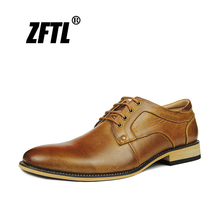 ZFTL New Men Business causal shoes man dress large size genuine leather male lace-up leisure handmade black/brown 41