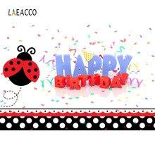 Laeacco Cartoon Ladybug Happy Birthday Word Baby Celebration Party Photography Background Photographic Backdrop For Photo Studio birthday background birthday celebration banner photography backdrop photo studio backdrops for baby photos150x210cm thin vinyl