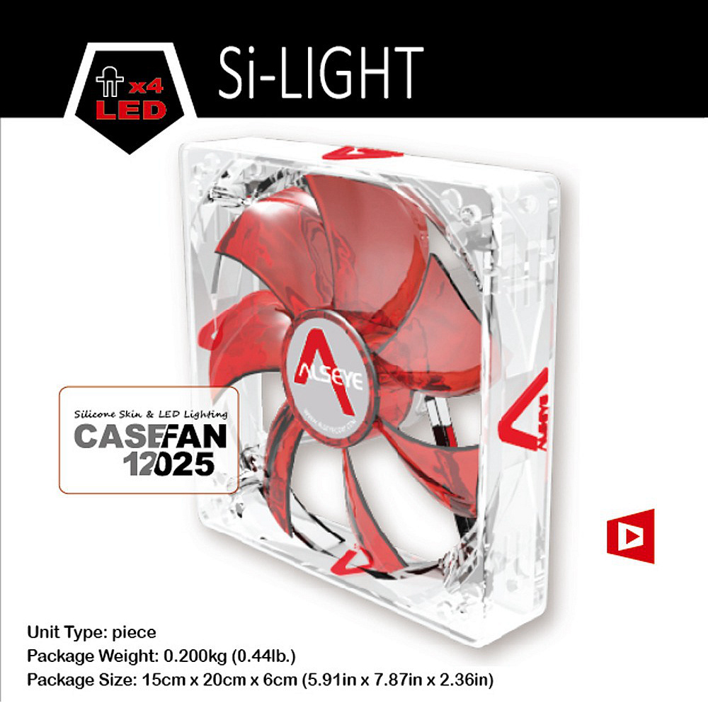 Alseye Red Led 120mm Fan Cooler Silent Computer Case Radiator 12 Cm Sooncool For Cpu 12v 3 Pin 1200 Rpm Cooling In Fans From