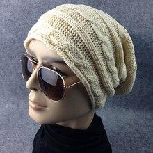 Hot Newest Style Men's Women's Stripe Twist Knit Baggy Beanie Hat Winter Warm Oversized Cap 7FHM