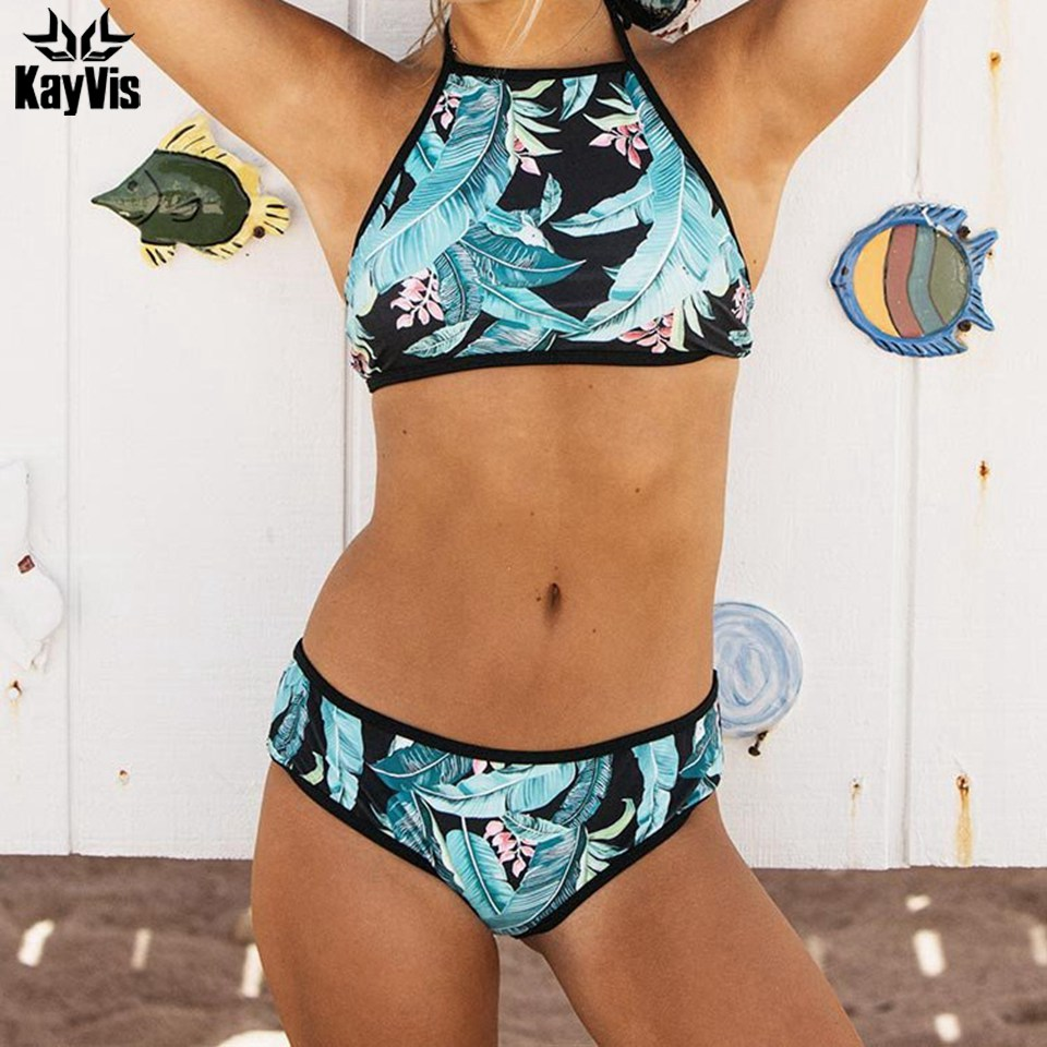 KayVis 2019 Sexy High Neck Halter Tree Bikinis Women Swimsuit Bandage Swimwear Print Bikini Set Brazilian Bathing Suit Swim Wear