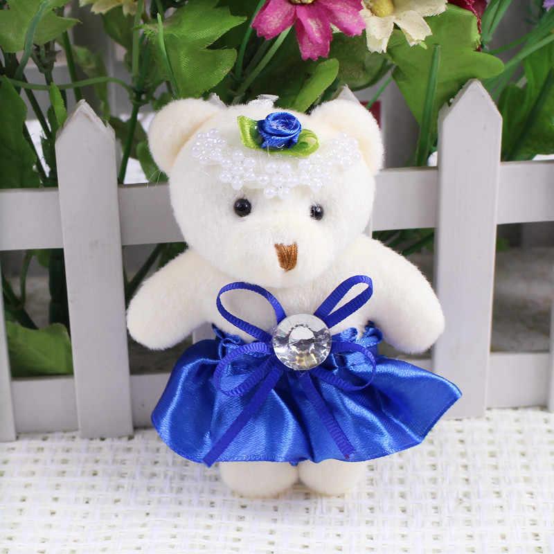 12 centímetros Urso de Pelúcia Kawaii Brinquedos Miúdo Plush Mini Urso de Peluche Pequeno Flor Buquês de Urso Para O Casamento Do Presente Do Partido
