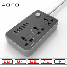 цена на Power Strip with 3 socket and 6 USB Ports Universal EU AU US UK IN Plug Socket Surge Protector Charging Station 6.5ftPower Cord