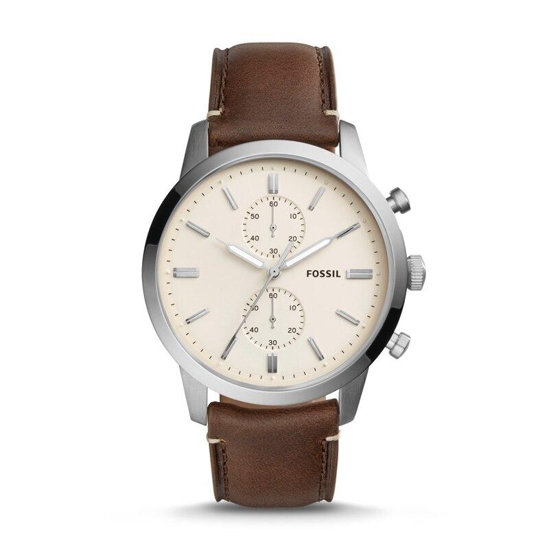 FOSSIL Townsman 44MM Quartz Chronograph Brown Leather Watch Vintage Wrist Watch for Man FS5350