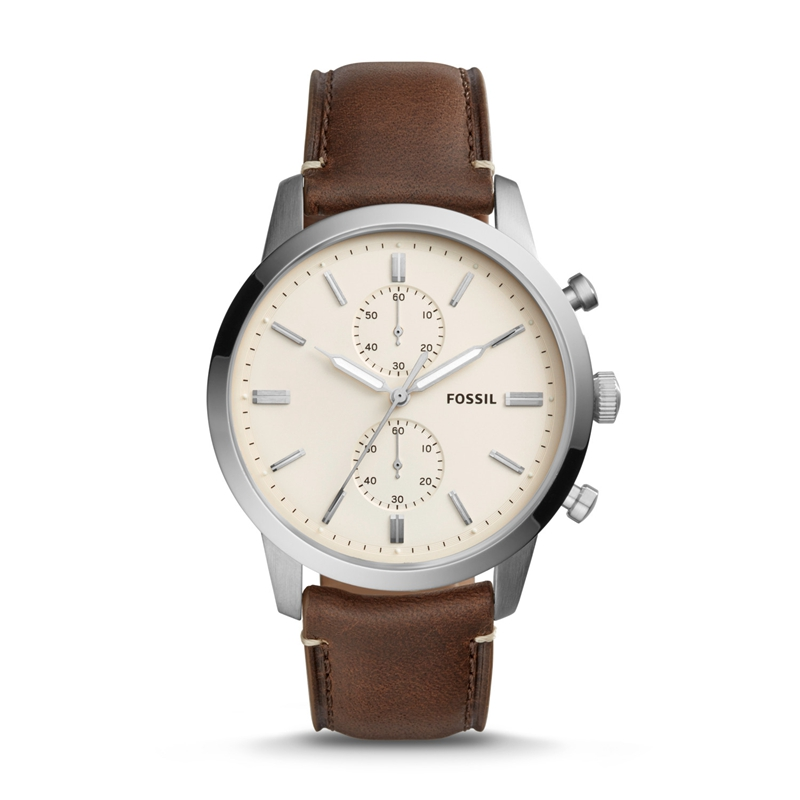 FOSSIL Townsman 44MM Quartz Chronograph Brown Leather Watch Vintage Wrist Watch For Man FS5350