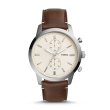 FOSSIL Townsman 44MM Quartz Chronograph Brown Leather Watch Vintage Wrist for Man FS5350