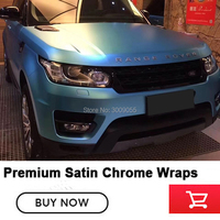 Highest quality Vehicle Wrap Film | Satin Blue Chrome light blue for High end car True Effect picture