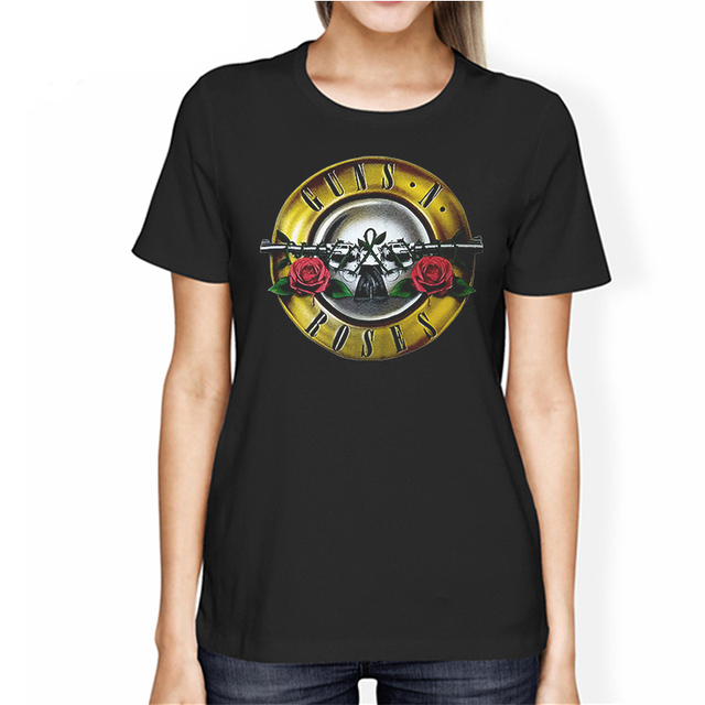 ROCKSIR women GUN N ROSES Printed T-shirt Women's Rock Cotton Tops Tee Casual Short Sleeve T-Shirts 100% cotton