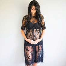 Maternity Photography Props Lace See Through Maternity Dress Fancy Studio Clothes Pregnancy Photography Props Drop shipping(China)