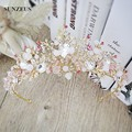 New Arrival Headband Gold Pink Jewelry Tiara Hair Accessories Wedding Adorno Pelo Novia SQ082-1