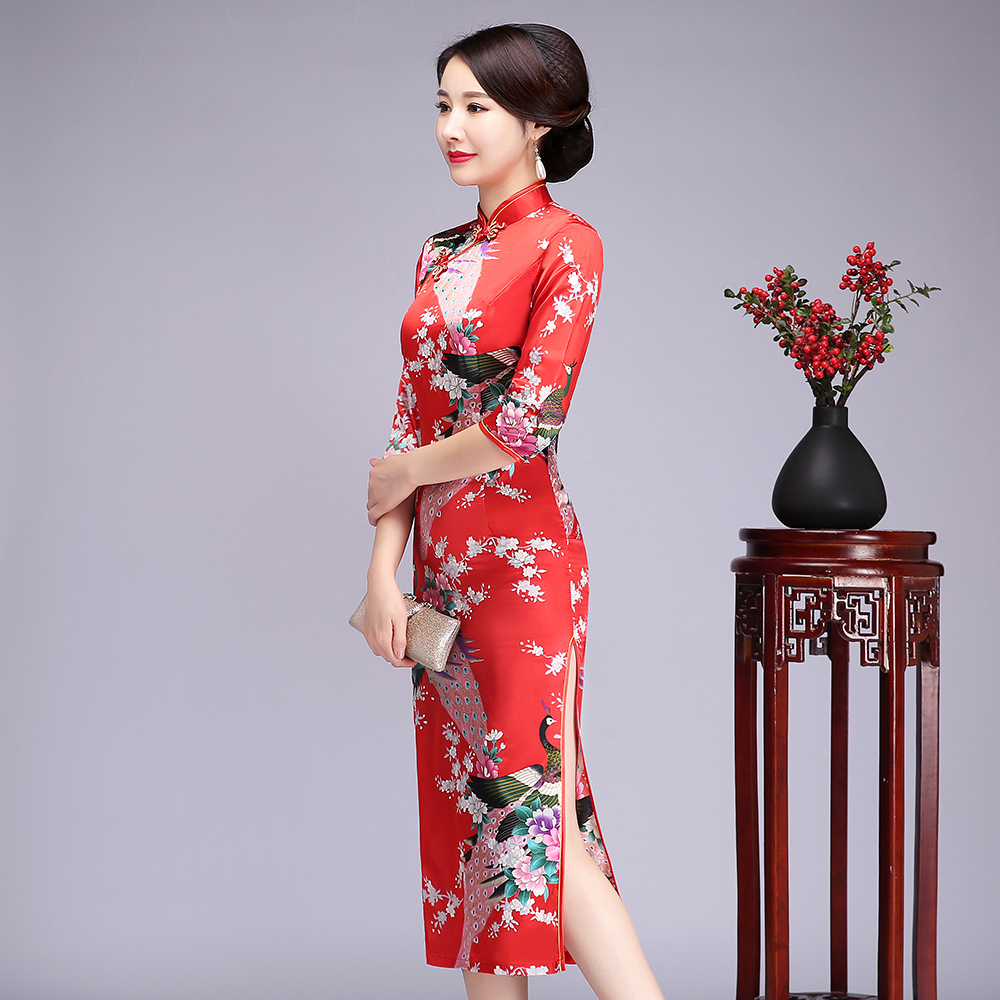 Chinese Women Summer Rayon Qipao Red Print Bride Wedding Dress Half Sleeve Vintage Button Cheongsam Plus Size 5XL 6XL Vestidos