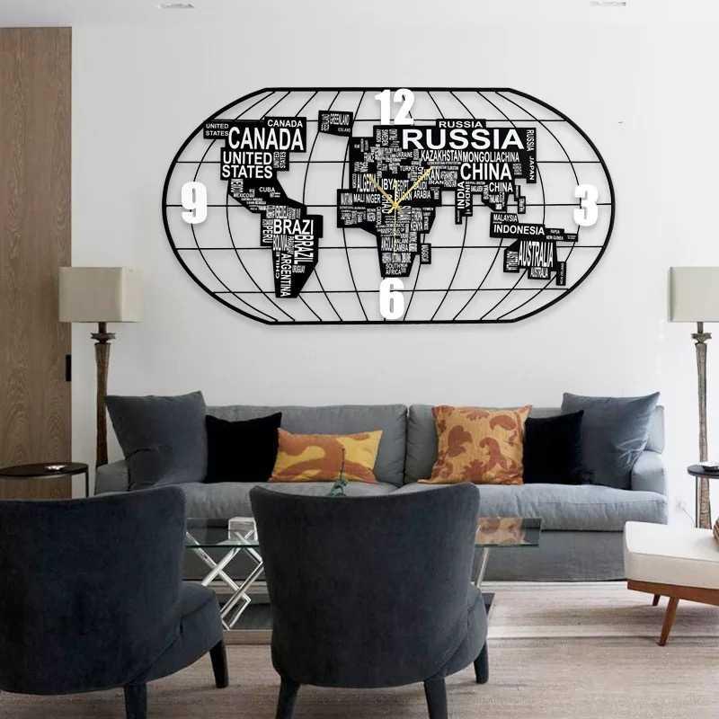 Wall Clock Modern Design World Map